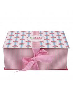 Caja de regalo Lujo (incl. body con aplique, pantalón, gorrito, manta de algodón dulce y corazoncito de tela) rosa