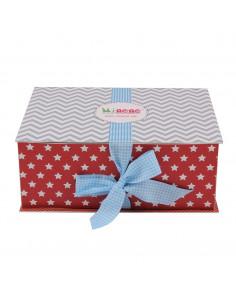 Caja de regalo Lujo (incl. body con aplique, pantalón, gorrito, manta de algodón dulce y corazoncito de tela) gris