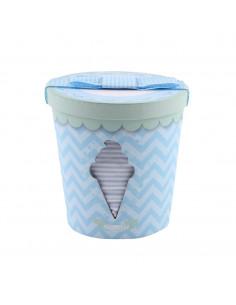 Caja de regalo Bote de Helado (incl. pijama con imprimé, gorrito y bandana) azul