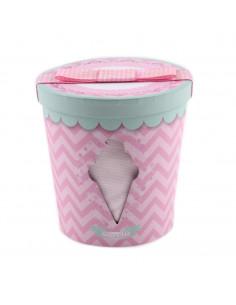 Caja de regalo Bote de Helado (incl. pijama con imprimé, gorrito y bandana) rosa