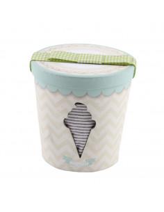 Caja de regalo Bote de Helado (incl. pijama con imprimé, gorrito y bandana) gris