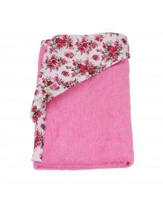 Toalla 100% algodón con capucha 90x100 cm rosa