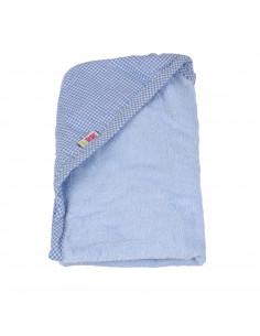 Toalla 100% algodón con capucha 90x100 cm azul
