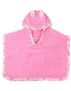 Poncho 100% algodón gatito rosa