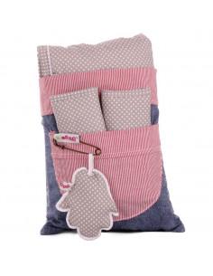 Set colchoneta + protector cinturón para silla de paseo y auto gris/rosa