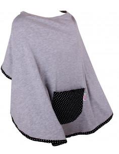 Poncho de lactancia con su bolsillo frontal y su bolsa de transporte - gris