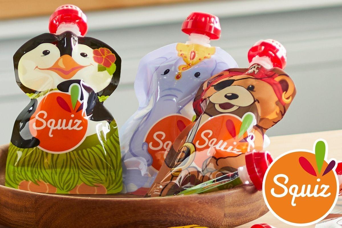 Tres bolsas de alimentación con forma de pingüino, elefante y oso.